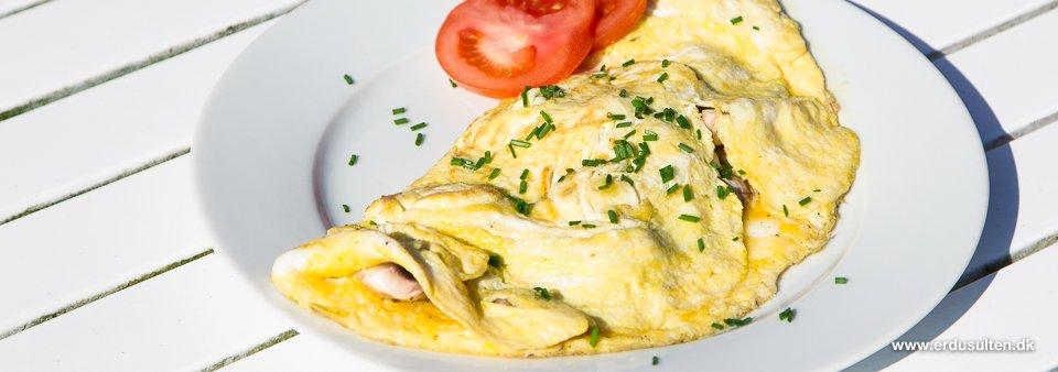 Billede af omelet med ost og champignon